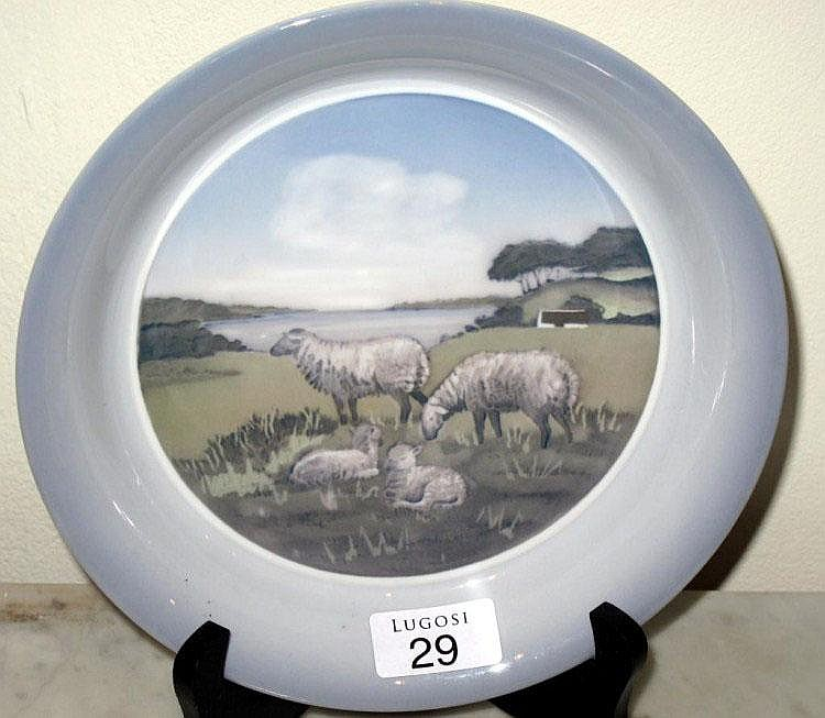 Royal Copenhagen cabinet plate sheep in landscape