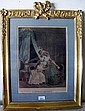 Antique gilt framed French colour engraving