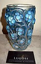 Rene Lalique 'Raisons' blue tinted glass vase