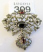 Antique garnet diamond pendant brooch