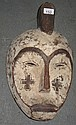 African carved limed timber mask 44cms
