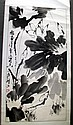 Chinese monochrome ink scroll Lotus flowers