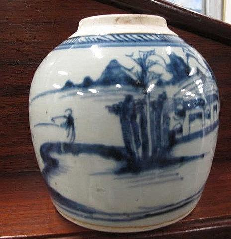 Chinese Qing blue and white porcelain ginger jar