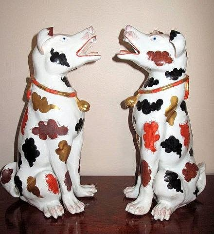 19thC Chinese pair large export figures of dogs 40cms Ht