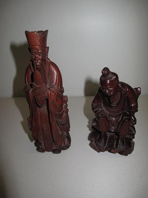 Two vintage carved wood Chinese figures