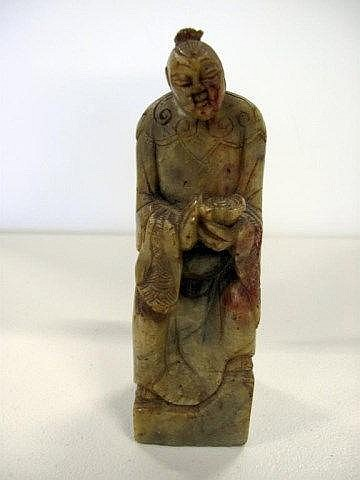 Chinese well carved soapstone figure of seated