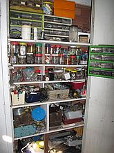 Two cupboards of painting utensils screws nuts