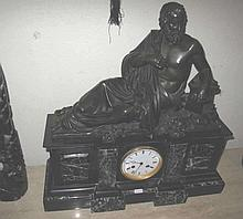 Raingo Fres Paris figural bronze and marble clock