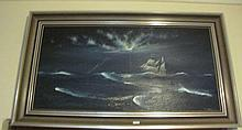 Bob Tindall oil board Marine scene signed lower