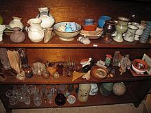 Four shelves of Australian pottery & timber items