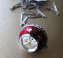 Boucherer red enamel cocktail fob watch on chain