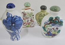Blue & white porcelain snuff bottle & three others