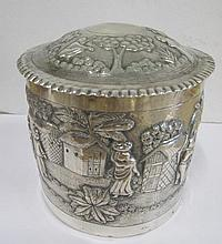 Antique Malay silver tea caddy with embossed