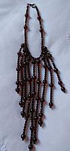 Stunnng ruby glass fringe necklace