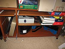 Mobile timber computer shelf unit