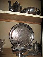 Various vintage plated wares to cupboard