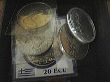 Six coins Greece 1993 20 ECU Canada 1980 silver