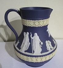 Wedgwood tri colour Jasperware jug 13.5cm h