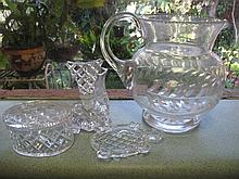 Antique quality crystal water jug with part