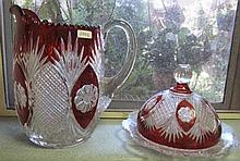 Vintage Bohemian glass water jug and lidded dish