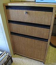 Three drawer timber filing cabinet with key