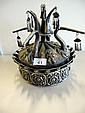 Qing Chinese silver crown measures 23cms Ht x 19cm