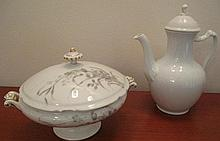 Royal Copenhagen white porcelain coffee pot and French antique procelain tureen af