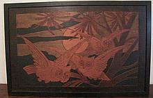 Antique French marquetry panel Owls 37cms Ht x 59cms