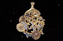 Solid Sterling Silver Rare Hand Made Large Ocean Graphic Pendant