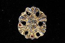 Solid Sterling Silver Rare Hand Made Large Art Deco Pendant