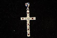 Solid Sterling Silver Rare Hand Made Large Cross Pendant