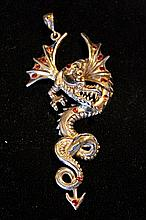 Solid Sterling Silver Rare Hand Made Very Large Dragon Pendant