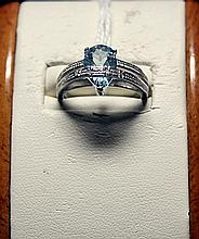 Beautiful Pear Shape Royal Blue Topaz Sterling Silver Ring.