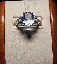 Lady's Fancy Royal Blue Topaz Sterling Silver Ring.