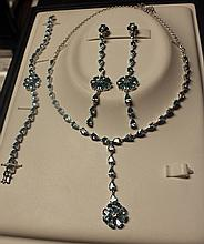 Set of Sterling Silver London Blue Topaz Necklace, Bracelet & Earrings.