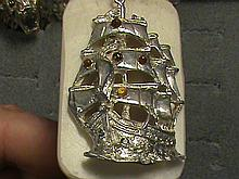 Natural Rare Fancy Royal Golden Sapphire Solid Sterling Silver Ship Pendant