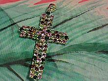 Fancy Multi-color Gemstones Cross Pendant.
