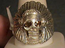 Indian Skull Head Royal Golden Sapphire Ring.