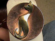 Antique Two Tone Copper Cat Broach.