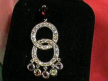 Fancy Garnet with Multi-color Gemstones Sterling Silver Dangle Pendant.