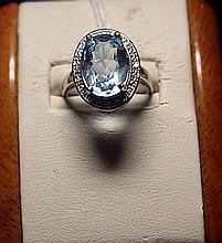 Lady's Fancy Royal Blue Topaz with Diamonds Sterling Silver Ring.