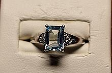 Gorgeous Royal Blue Topaz with Diamonds Sterling Silver Ring.