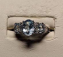 Gorgeous Royal Blue Topaz Sterling Silver Ring.