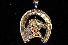 Solid Sterling Silver Rare Hand Made Large Horse Head & Horse Shoe Pendant