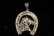 Solid Sterling Silver Rare Hand Made Large Horse Shoe & Horse Head Pendant
