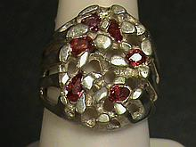Fancy Nugget Fancy Shape Facets Vivid Red Ruby Ring.