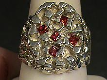 Fancy Nugget Fancy Cut Facets Vivid Red Ruby Ring.