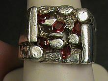 Fancy Pear Shape Cut Nugget Style Vivid Red Ruby Ring.