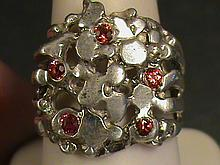 Beautiful Nugget Vivid Red Ruby Ring.