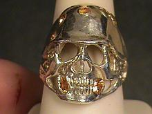 Biker's Skeleton Helmet Canery Yellow Sapphire Ring.